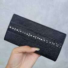 Wallet made of stingray skin rowstone type Black long wallet