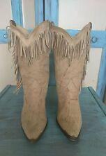 ACME* Vintage Beige Brown Marbled Fringe Cowboy Western Boots Women's Sz 61/2M