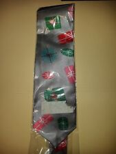 Christmas tie - gift boxes, packages, wrapping, etc. Grey gray silver