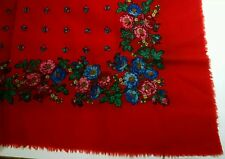 "100% pure wool scarf made in Switzerland, red background. floral 30"" square"