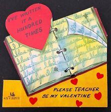 Vtg Teacher Valentines Card Ephemera English Writing Educator School 1950s 1960s