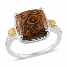 Indian SCRIPT STONE , Yellow Cubic Zirconia RING in Sterling Silver 8.15 Cts.