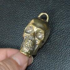 Handmade Copper Brass Skull human skull Pendant Car Keychain DIY Chain