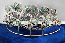 Victorian Look 925 Silver Tiara 6.15ct Rose Cut Diamond Emerald Antique