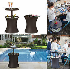 Round Bar Table Outdoor Patio Pub Bistro Furniture Dining Set Drink Cooler