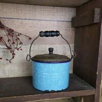 Antique Turquoise & White Speckle Graniteware Kettle Pail - Tin Lid