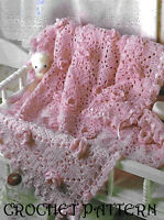 Gorgeous baby shawl afghan CROCHET PATTERN 4 ply made in squares1002