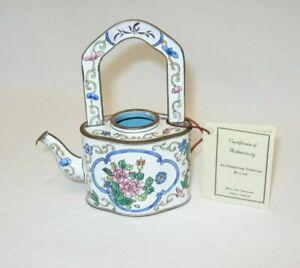 KELVIN CHEN No. 445 Enamel Miniature Hand Paint Copper Teapot No Lid Floral