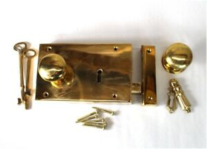 Brass Colonial Rim Lock RIGHT Hand Surface Mount Antique Replica
