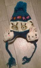 Rabbit baby bobble hat winter warm fur girls beanie cap Newborn 6-12 month