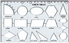 GEOMETRY STENCIL Technical Drawing Template Shape KS1 KS2 KS3 maths home school