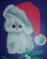 Vintage CHRISTMAS Greeting Card - NORCROSS - Sweet Kitten Wearing Santa Hat