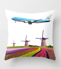 """KLM Boeing 747 over The Netherlands Art - Throw Pillow (16"""" x 16"""")"""