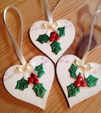 3 X Handmade Shabby Chic Christmas Decorations Wood Holly Cream / Ivory Bows