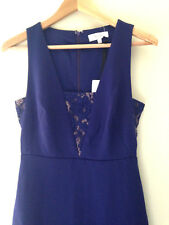 NWT REISS Hudson Fit and Flare Evening Cocktail Indigo Lace Blue Dress US 6 $340