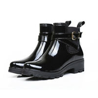Women's Fashion Rain Boots Waterproof Rubber Slip-on Wellies Mid Calf Snow Boots