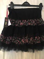 Yumi Black Mini Skirt Brand New With Tags Size Medium, Pom-poms, Frills, Floral