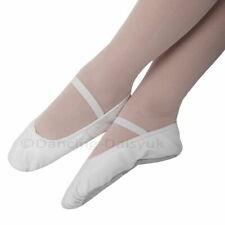 Boys / Girls White Leather Ballet Shoes UK SIZED Pre-sewn Elastics SALE