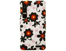 Rubber Coated Case Protector with White / Black Daisy for Motorola DROID 3