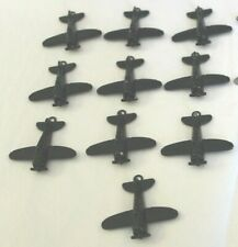 Vintage Diecast Die Cast Airplane Charms ~ Black