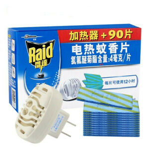 Raid 90 pcs Mosquito Mat Refill 12hrs/pc +1pc Mosquito Repellent Electric Heater