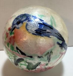 Pier 1 Opal Sphere Blue Bird Spring Flowers Decorative Ball
