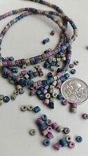 Greek ceramic matte barrel beads | Dusty earthy tones | 300+ beads per strand -