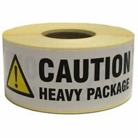 Caution Heavy Package Printed Parcel Labels - Postage Stickers - Self Adhesive