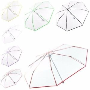 Clear Transparent Foldable Rain Sun Umbrella Parasol PVC Dome Umbrella