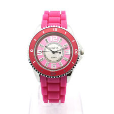 Women's Crystal Fashion Watch Silicone Gel Band w/ Rotating Bezel New Pink