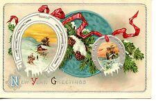 Good Luck Horseshoe-Winter Snow Scene New Year Holiday Greeting-Vintage Postcard