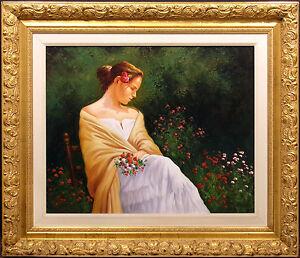 Juan Rosell Female Figurative Original Oil Painting on Canvas, Custom Frame, OBO
