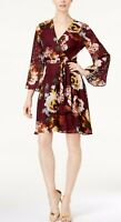 NEW Ivanka Trump Women's Floral Print Burnout Faux Wrap Dress Wine Size 4 $138