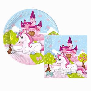 Kit party festa Unicorno per 16 persone 16 piatti 40 tovaglioli compleanno 1397