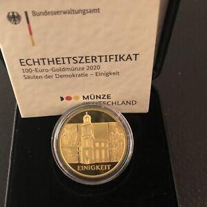 """100 Euro Goldmünze Deutschland 2020 Säulen der Demokratie """"Einigkeit"""" F Gold"""