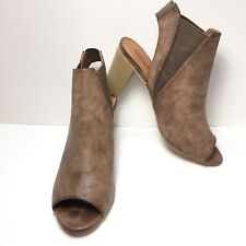 Women's Maurices Brown Open Toe High Stacked Heel Casual Ankle Bootie Size 9.5 M