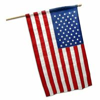 American USA US Flag 2x3 Ft Embroidered Stars Sewn Stripes Nylon Pole Sleeve