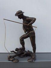 Bronzefigur, Angler mit Angel, Skulptur, Dekoration