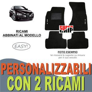 PER ALFA ROMEO 147 TAPPETINI AUTO SU MISURA MOQUETTE FONDO GOMMA + 2 RICAMI EASY