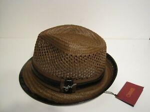 CARLOS SANTANA toyo straw FEDORA HAT large / xl BROWN