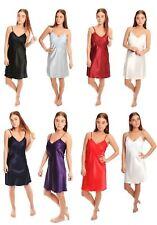 Satin Lace Knee length nightdress slip gown pjs plus size bridal 10-24 uk Dress