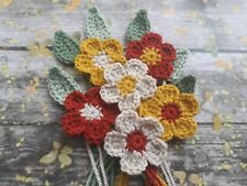 6 Crochet Autumn Winter  Flowers & Leaves Crafts Cards Scrapbooking Applique