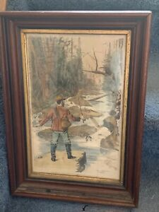 Fly Fishing Wooden Framed Print Dan Beard Vintage Adirondack Trout Stream