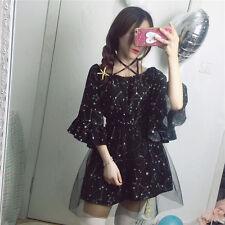 Japanese Sweet Lolita Harajuku Straps Star Vintage Black Dress Elegant Woman