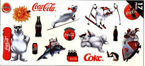 Coca-Cola Coke Wall Appliques Set - 17 Pieces - From 1997 - Collectible  852005