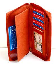 Tan Leather Men Lady Checkbook Cover Holder Organizer Zip Around Wallet