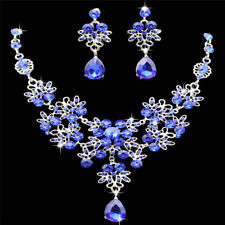 Fashion Rhinestone Necklace Earrings Set Crystal Women Wedding Jewelry Chic Royal Blue