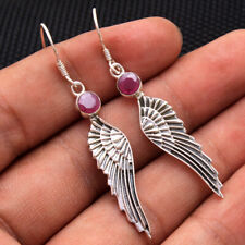 Mother's day Angel wings feather earring Red Ruby 925 Sterling Silver Jewelry