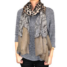 """72"""" Long Leopard Cheetah Animal Lace Print Scarf Wrap Shawl Solid Color Ends"""