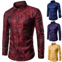 Mens Dress Shirt Paisley Long Sleeve Floral Button Down Slim Fit Casual Tops